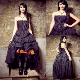 Wholesale Victorian dresses Steampunk Wedding Dress Gothic Lolita Inspired Vampire in Black Custom Wedding gowns beading Bridal Gowns