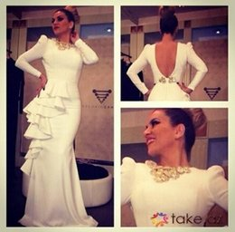 Formal White Long Sleeves Backless Prom Dresses With Side Ruffles Sheath Long Beaded Evening Gowns Shiny Women Dresses