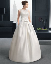 2015 Fashionable Wedding Dresses A line Floor length Bateau High Quality Lustrous Stain Sequined Chapel Train Floor length WD15