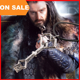 Wholesale vintage Lord of the Rings Hobbit Oak Shield Treasure Key Pendant Necklace ancient silver Thorin Oakenshield key movie jewelry