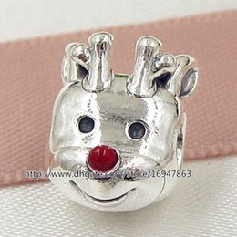 100% S925 Sterling Silver Red-nosed Reindeer Charm Bead with Red Enamel Fits European Pandora Style Jewelry Bracelets Necklaces & Pendant