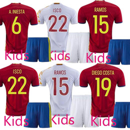 Wholesale Spain kids eruo jersey home Red ISCO SILVA A INIESTA Soccer Jersey spain full kit football shirt