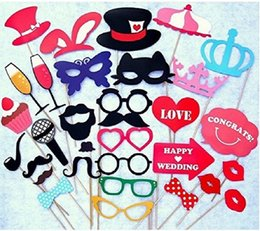 Wholesale HOT SALE NEW DESIGN Vintage Bunting Banner Photo Booth Props Garland Bridal Shower wedding decorationMustache On A Stick Wedding Party Phot