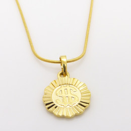 Fashion $ coin pendant 24K Yellow Gold Filled GF 1mm rope chain necklace for men women 5G