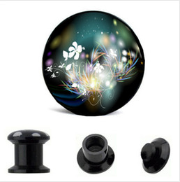 Acrylic Indian Flower Logo Ear Gauge Plug And Tunnel Stretcher Expander 4-16mm Double Flared Screw Fit Plug