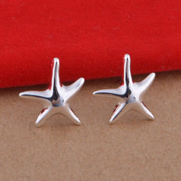 Foreign trade jewelry plated 925 sterling silver earrings simple starfish earrings Korean popular spot wholesale
