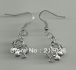 Free Shipping Wholesale Fashion 50Pair Antique Silver Teddy Bear Charms Drop Earrings For Women DIY Findings Jewelry N1050