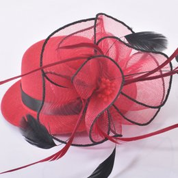 trendy wine red new fashion handmade ladies mini top hat cap feather fascinator hair clip wedding party fancy dress accessory hairwear
