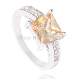Wholesale-Wholesale 1pc Sterling Silver Orange Pretty Cubic Zirconia Beautiful Ring Size 7 8 9