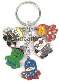 Wholesale 10pcs The Avengers Captain American Thor Iron Man Hulk Metal Keychains Pendants FIgure Toys