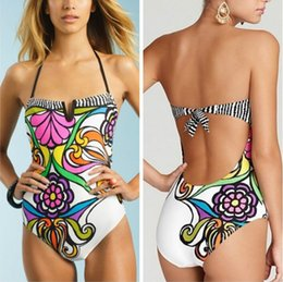 2016 Fashion Mesh printing flowers One Piece Swimwear Sexy See Through Bikini Monokini Vintage Bathing Suit Swimsuit