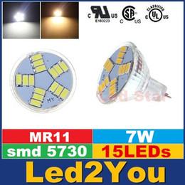 Gu4 conduit en Ligne-Ampoule LED MR11 GU4 7W DC12V 15 5630SMD blanc lumière blanche chaude LED lampe à économie d'énergie haute Lampes lumineux pour Accueil Boutique Bureaux