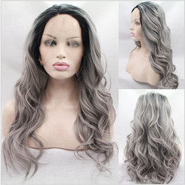 fashion grey body wave wig synthetic lace front wig with dark roots heat resistant fiber hair for women