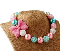 Fashion new pearl Bows necklace toddler jewelry,kids necklace Girls Princess Chunky Bubblegum Necklace For Dress up