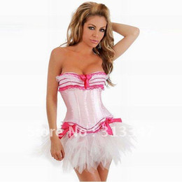 Wholesale off sexy lingerie pink corset strapless slimming underwear with tutu skirt body lift shaper lady bustier cs337