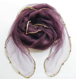 Wholesale The new solid color gold organza beaded package edge summer sun Scarves women size cm