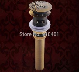 Wholesale Hot Sale And Retail Promotion Antique Brass Bamboo Shape Basin Sink Drain Pop Up Waste Vanity With Overflow