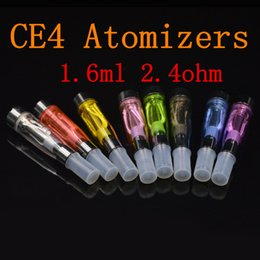 Ecig Tanks eGO CE4 Atomizers 1.6ml 2.4ohm Vaporizer Tanks E Cigs For E-cig Battery Black Colorful Tips E-cigarette Clearomizer