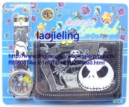 NEW Wholesale 10 pcs cartoon nightmare before christmas watches and wallet sets with gift box free shipping