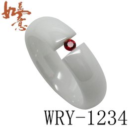 white Ceramic Rings Domed Shaped with red CZ diamond inlay Fashion Bling Rings 6mm