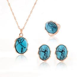 Collar pendiente anillo de oro plateado cristal turquesa joyería conjunto de diseño para las novias africanas jewrlry conjunto joyas de lujo conjunto desde pendientes de turquesa juego de anillos fabricantes