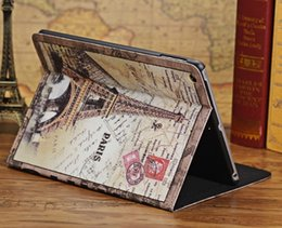 Wholesale For ipad Retro Paris England Leather Smart Case For new iPad Air with Retina Big Ben London Bridge Eiffel Tower Stand Cover