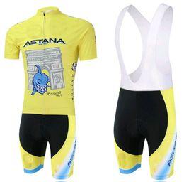 2014 Tour De France ASTANA PRO TEAM YELLOW NIBALI Short Sleeve Cycling Jersey Bike Bicycle Wear + BIB Shorts Size XS-4XL A036