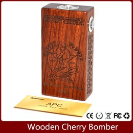 Wholesale 2016 APC mod Wooden Cherry Bomber Box Mod log rosewood color Wood Mechanical Connector fit Battery for doge v4 RDA RBA Atomizers