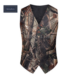 2018 Brown Camo Men Vest Camouflage Mens Suit Vest Slim Groom Vests Realtree Camo Outerwear Spring Autumn Summer Wedding Vest Men(Vest+Tie)2