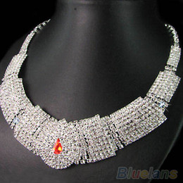 Wedding Bridal Crystal Rhinestone Bib Statement Necklace Jewelry Set 2MUZ