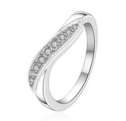 Plating 925 Sterling Silver Luxury Lady Rings With many Austrian Crystals Wedding Rings Jewelry Free Shipping