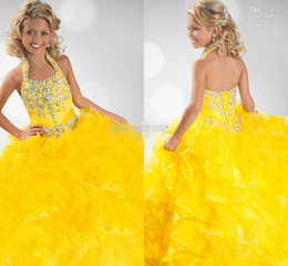 Yellow Girls Pageant Dresses Floor Length Ruffled Ball Gown Princess Party Gowns Ritzee Girls Special Occasion Dress