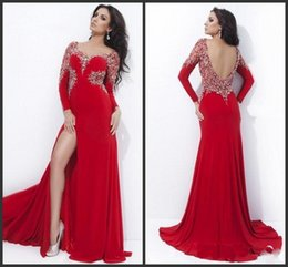 Wholesale Sexy Gorgeous Evening Dress Cheap - 2015 Custom Made Bead Sequins Long Sleeve Red Chiffon Gorgeous Evening Dresses High Slit Sexy Party Prom Gowns Exquisite Vestidos Cheap
