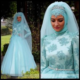 Sky Blue Muslim Evening Dresses Arabic Long Sleeve Appliques A line Tulle Hot Formal Party Prom Gowns Custom made