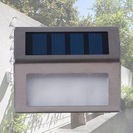 LED solar panel wall lamps stainless steel outdoor waterproof solar power stairway garden yard pathway lights