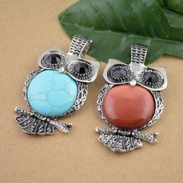 Wholesale Finding Turquoise Gold Sand Stone with Black Crystal Pendulum Owl Charms Pendant Jewelry