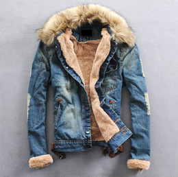 NEW Mens winter warm fur collar fur lining denim jacket coat size S-XXXL