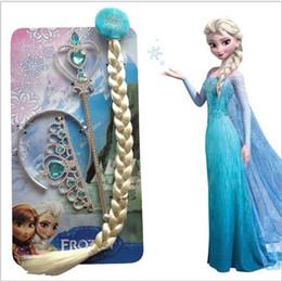 Extensiones de cabello elsa en Línea-4pcs Elsa helado sintético clip-in de la peluca de la extensión del pelo de la peluca del pelo de la peluca del periwig del pelo de la varita mágica cosplay del pelo Regalo de la Navidad