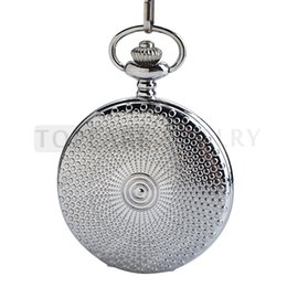 LPW173 Teboer Jewelry Silver Case Full Hunter Quartz Pocket Watch