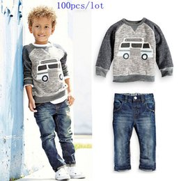 Wholesale 2015 new style Baby Boys Cotton cars printed long sleeve t shirt denim pants outfits Hoe sale spring autumn DHL for