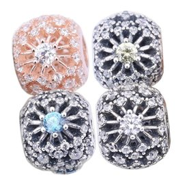 Sterling Silver Charms 925 Ale Hollow Out CZ Snowflake European Charms for Pandora Bracelets DIY Beads