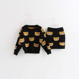 Wholesale 2015 New Autumn baby girls fashion bear pattern jacquard long sleeve sweater short skirt suit children clothing C001