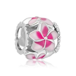 Valentine's Day Filigree Pink Flower Enamel Charm Free Shipping Rhodium Plating Beads Fits Pandora Charm Bracelet