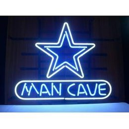 """Wholesale-NEW STAR COWBOYS MANCAVE NEON SIGN HANDICRAFT REAL GLASS TUBE BEER BAR LIGHT GAME ROOM SHOP 20x15"""""""