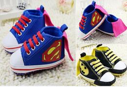 Wholesale 2016 Black Batman baby shoes blue Superman pattern toddler shoes Canvas straps casual shoes pair cl