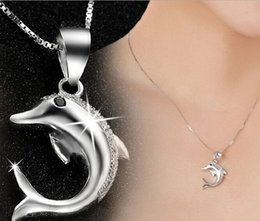 Fine Jewelry New Austrian Crystal Diamond Dolphins love Pendant 925 Sterling silver Necklace for Wedding Party