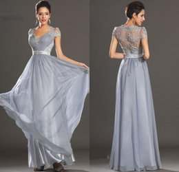 New Elegant Silver Grey Ruched Floor Length Chiffon Lace Evening Dresses Prom Party Dresses Sexy Mother Of The Bridal Dress