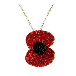 Wholesale New Rhodium Silver Gold Plated Red Crystal Rhinestone Flower Poppy Necklace and Pendants Fashion Accessories