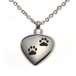 Wholesale Stainless Steel Pet Dog Cat Paw Waterproof Cremation Urn Necklace Ash Memorial Jewelry with gift bag and chain