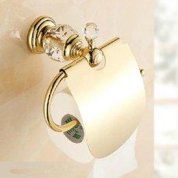 Wholesale Deal Luxury crystal brass gold paper box roll holder toilet gold paper holder tissue box Bathroom Accessories bath hardware HK k